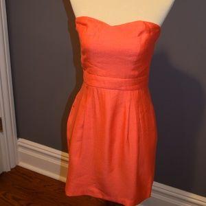 Bright Orange Strapless Dress